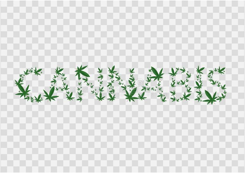 Иллюстрация знака конопли Надпись выровняна с листьями марихуаны r Темный ый-зелен значок на прозрачном бесплатная иллюстрация