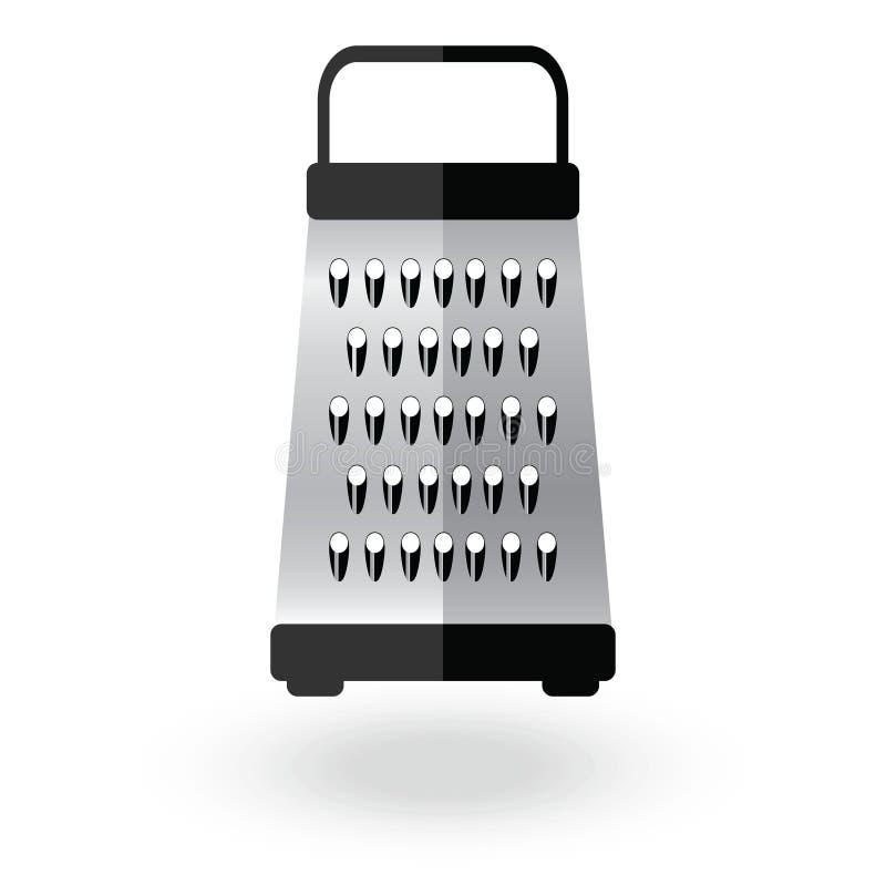 Иллюстрация знака логотипа вектора значка терки металлическая Еда оборудования кухни стальная отрезала аксессуар изолированный на иллюстрация штока