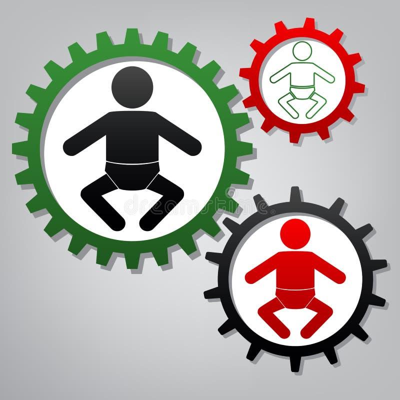 Иллюстрация знака младенца вектор 3 соединенных шестерни с значками бесплатная иллюстрация