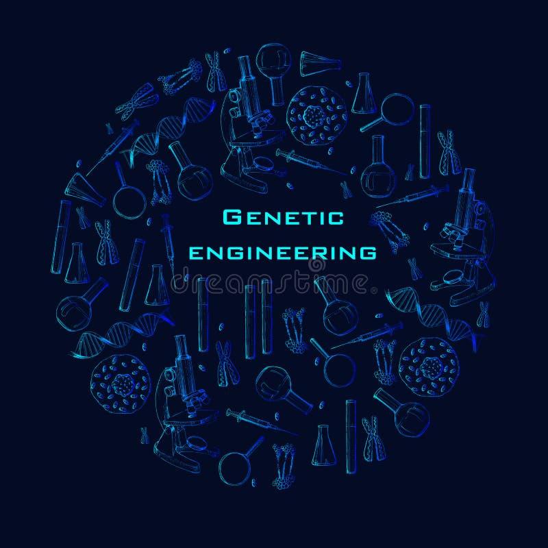 Иллюстрация знамени современной руки сети вычерченного для онлайн образования Концепция эскиза для онлайн лабораторий генетическо бесплатная иллюстрация