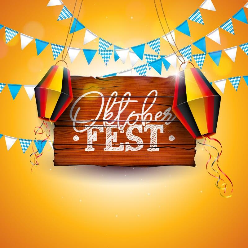 Иллюстрация знамени Oktoberfest с литерностью оформления на винтажной деревянной доске Фестиваль пива вектора традиционный немецк иллюстрация вектора