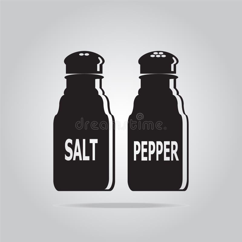 Иллюстрация значка бутылки соли и перца иллюстрация вектора