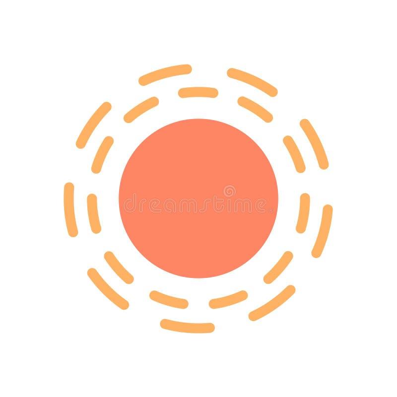 Иллюстрация значка вектора Солнця Иллюстрация солнечности минимальная плоская иллюстрация вектора