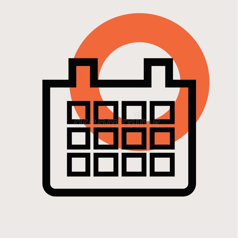 Иллюстрация значка календаря плоская бесплатная иллюстрация