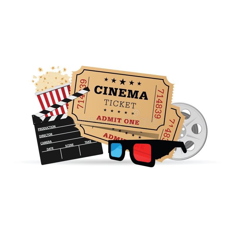 Иллюстрация значка кино установленная иллюстрация вектора