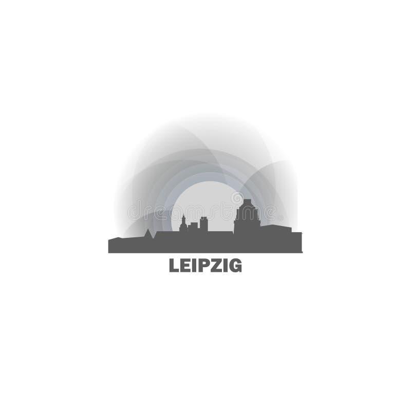 Иллюстрация значка логотипа вектора формы горизонта города Лейпцига иллюстрация вектора