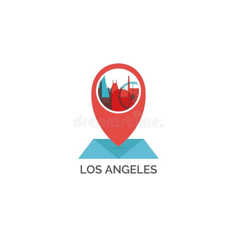 Иллюстрация значка логотипа вектора формы горизонта города Лос-Анджелеса стоковые изображения rf