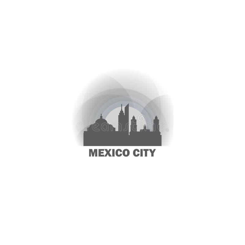 Иллюстрация значка логотипа вектора формы горизонта Мехико стоковая фотография