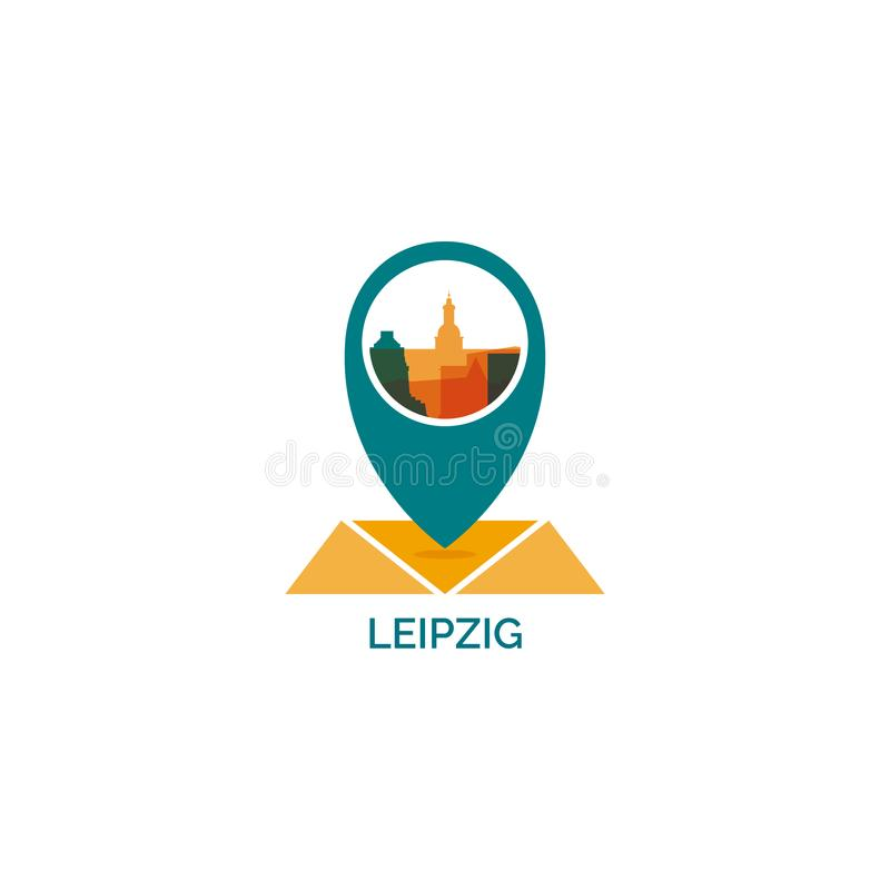 Иллюстрация значка логотипа формы горизонта города Лейпцига бесплатная иллюстрация