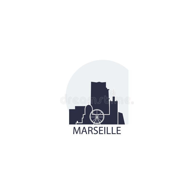 Иллюстрация значка логотипа формы горизонта города марселя иллюстрация вектора