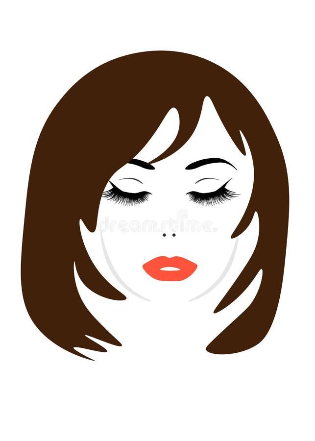 Иллюстрация значка прически женщин, женщин логотипа на белой предпосылке, векторе бесплатная иллюстрация