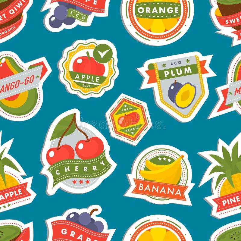 Иллюстрация значков вектора шаблона значков логотипа плодоовощей для предпосылки картины фермы и продукта безшовной бесплатная иллюстрация
