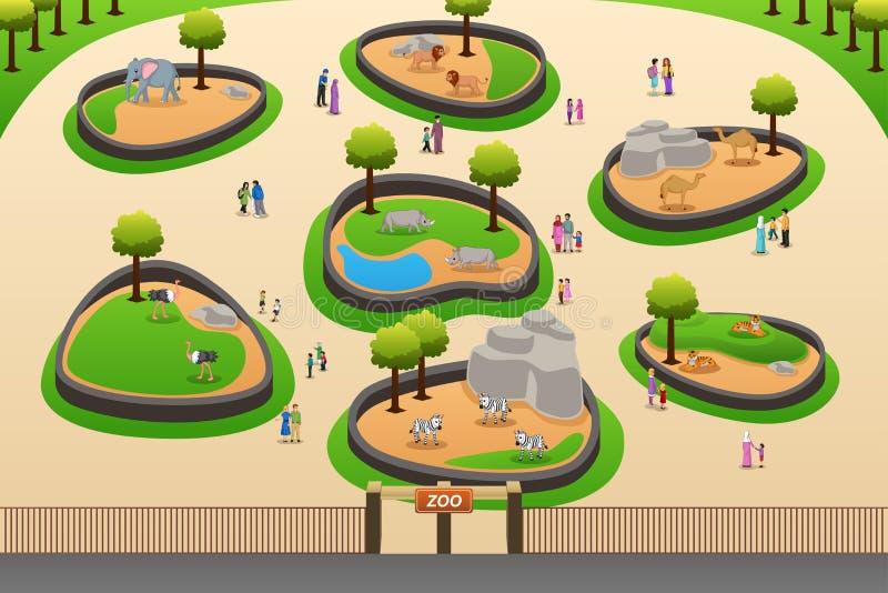Иллюстрация зоопарка людей посещая иллюстрация вектора