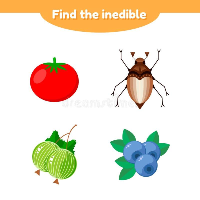 иллюстрация Игра головоломки для детей preschool и школьного возраста найдите несъедобное томат, крыжовник, голубика, жук иллюстрация вектора