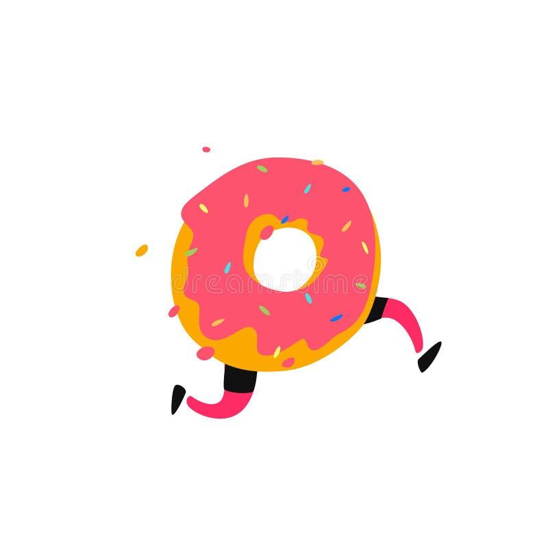 Иллюстрация идущего донута r Сладкий характер донута с ногами Значок для места на белой предпосылке Знак, логотип для st бесплатная иллюстрация