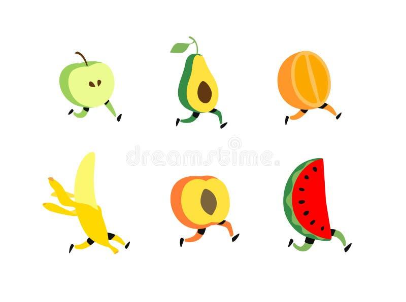 Иллюстрация идущего плода r Характеры коктейля плода, здоровая еда Милое яблоко, avacado, арбуз, банан, апельсин иллюстрация штока