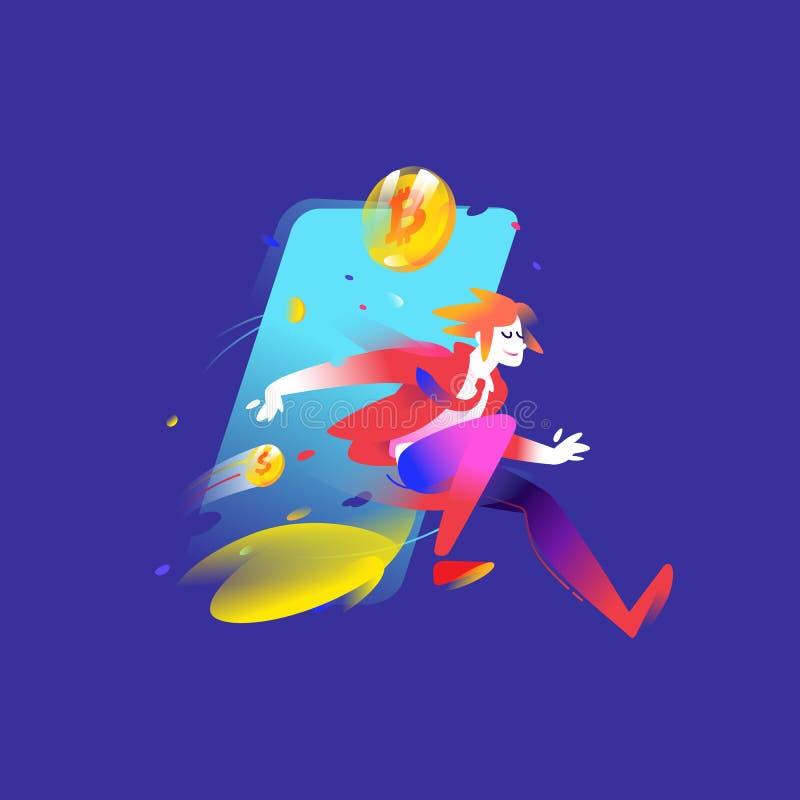 Иллюстрация идущего человека с bitcoin монеток Illustr вектора бесплатная иллюстрация