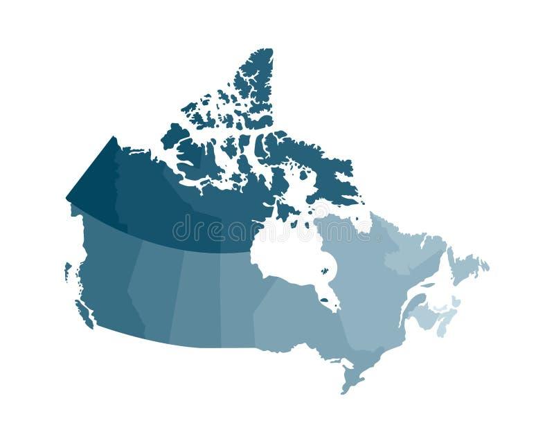 Иллюстрация изолированная вектором упрощенной административной карты Канады Границы регионов Красочные голубые хаки силуэты бесплатная иллюстрация