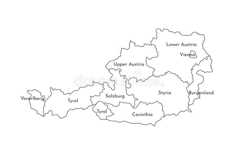 Иллюстрация изолированная вектором упрощенной административной карты Австрии Границы и имена регионов Черная линия силуэты иллюстрация вектора