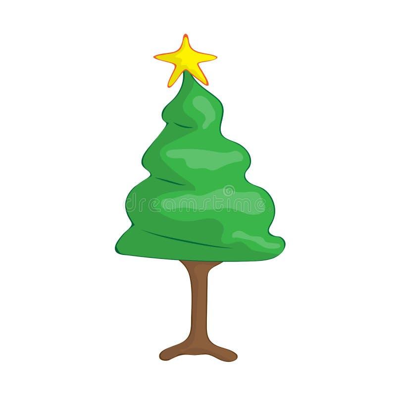 Иллюстрация изолированная рождественской елкой бесплатная иллюстрация