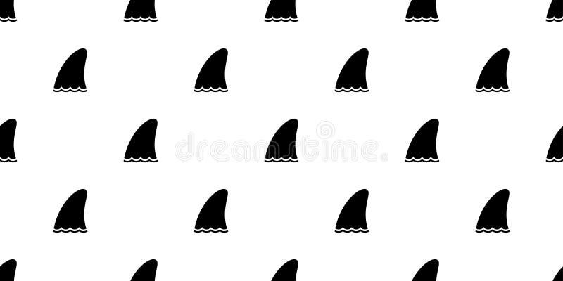 Иллюстрация изолированная шарфом повторения кита рыб дельфина картины ребра акулы безшовным обоев плитки предпосылки животная мул иллюстрация штока