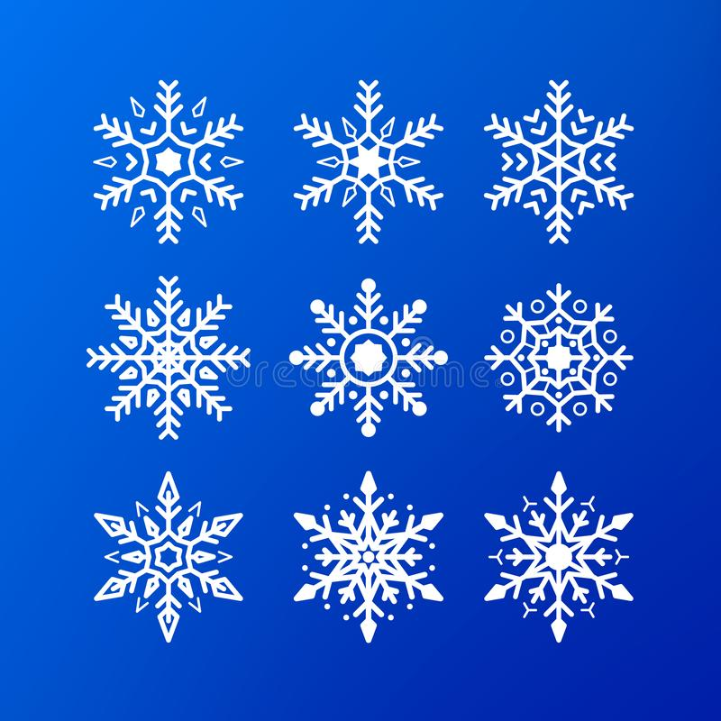 иллюстрация иконы изолировала установленную белизну вектора снежинки белые снежинки цвета изолированные на голубой предпосылке Эл бесплатная иллюстрация