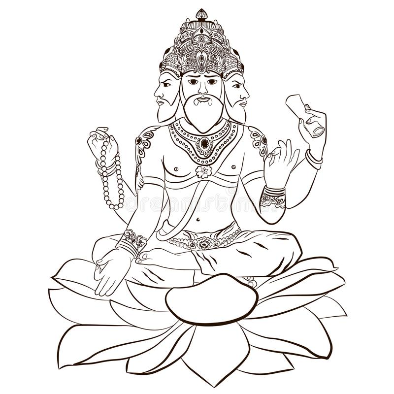 Иллюстрация индусского бога Brahma иллюстрация штока