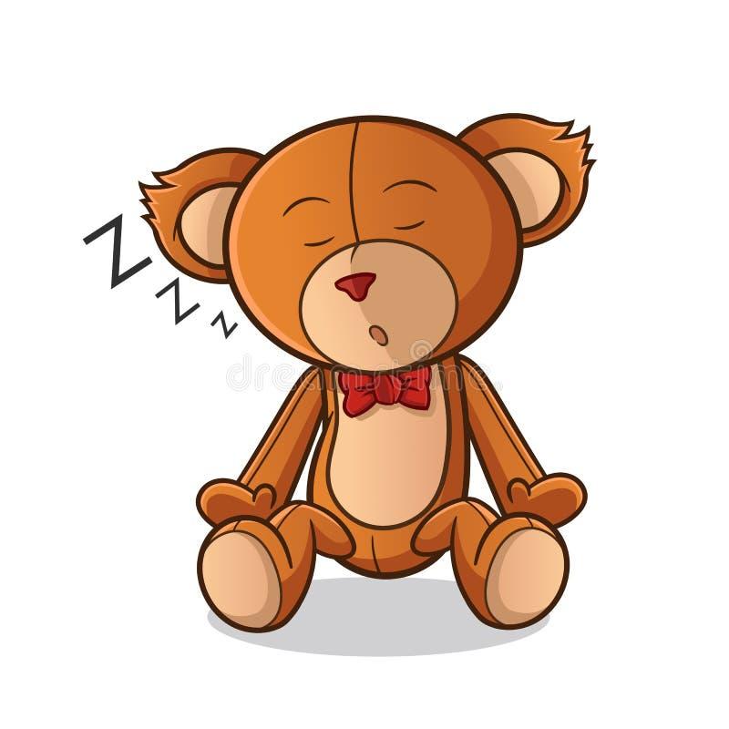 Иллюстрация искусства мультфильма вектора талисмана сна плюшевого мишки иллюстрация вектора