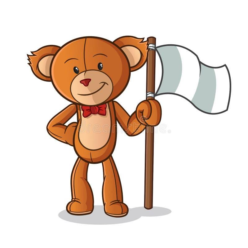 Иллюстрация искусства мультфильма вектора талисмана флага удерживания плюшевого мишки иллюстрация вектора