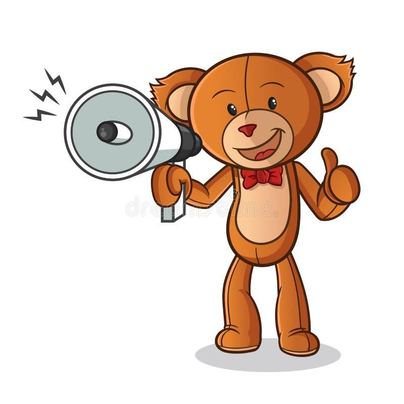 Иллюстрация искусства мультфильма вектора талисмана громкоговорителя счастливым владением плюшевого мишки сподручная иллюстрация вектора
