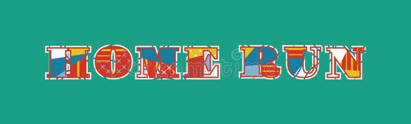 Иллюстрация искусства слова концепции хоумрана иллюстрация вектора