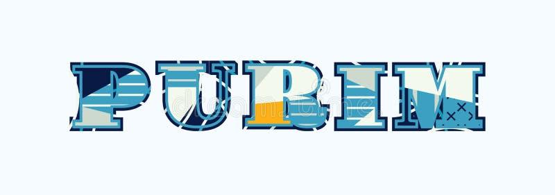 Иллюстрация искусства слова концепции Purim бесплатная иллюстрация