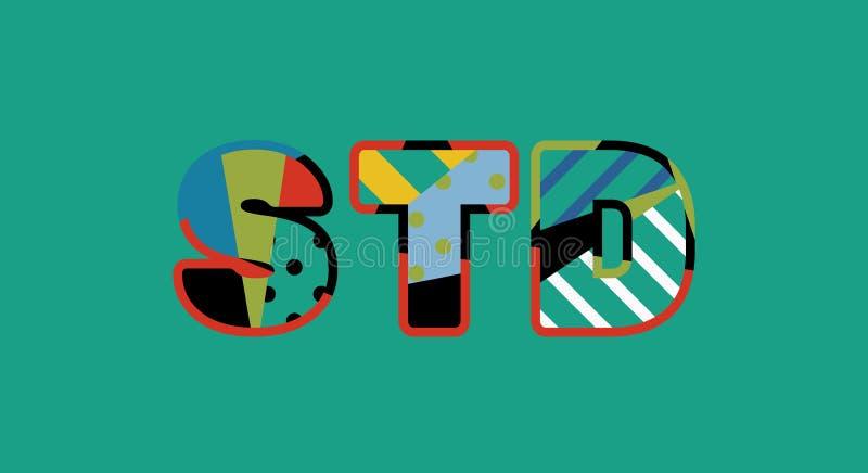Иллюстрация искусства слова концепции STD иллюстрация вектора