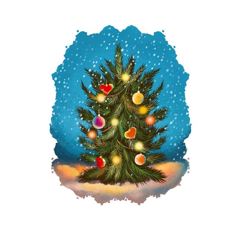 Иллюстрация искусства цифров украшенной рождественской елки со сверкная светами, идя снег небесами E Веселое рождество, бесплатная иллюстрация