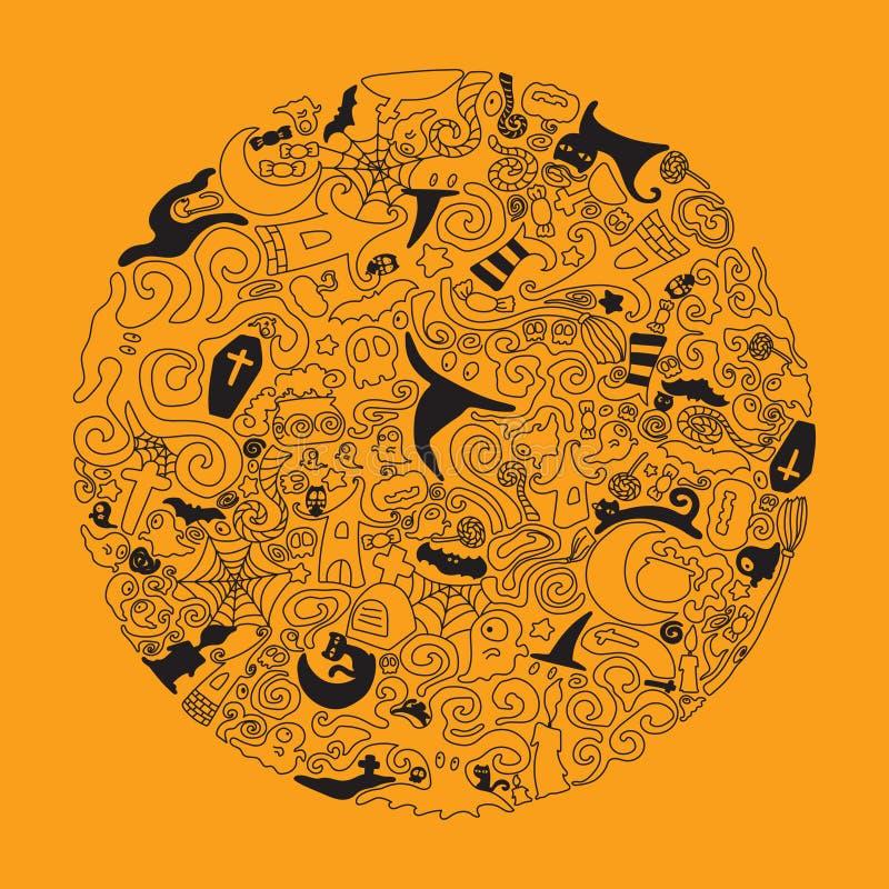 Иллюстрация искусства doodle хеллоуина Editable ход бесплатная иллюстрация