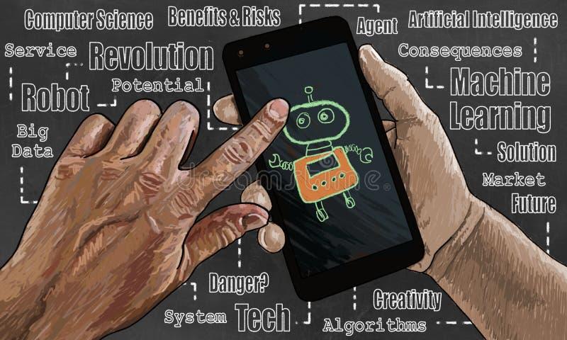 Иллюстрация искусственного интеллекта на умном телефоне с роботом иллюстрация штока