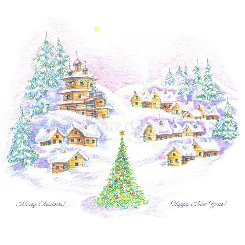 Иллюстрация, искусство, чертеж, деревня, дома, церковь, зима, рождественская елка, снег, ландшафт, белый предпосылка, Новый Год, иллюстрация штока