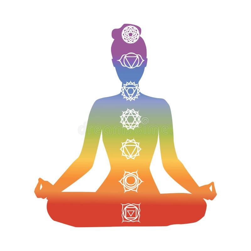 Иллюстрация йоги вектора с символами chakra иллюстрация вектора