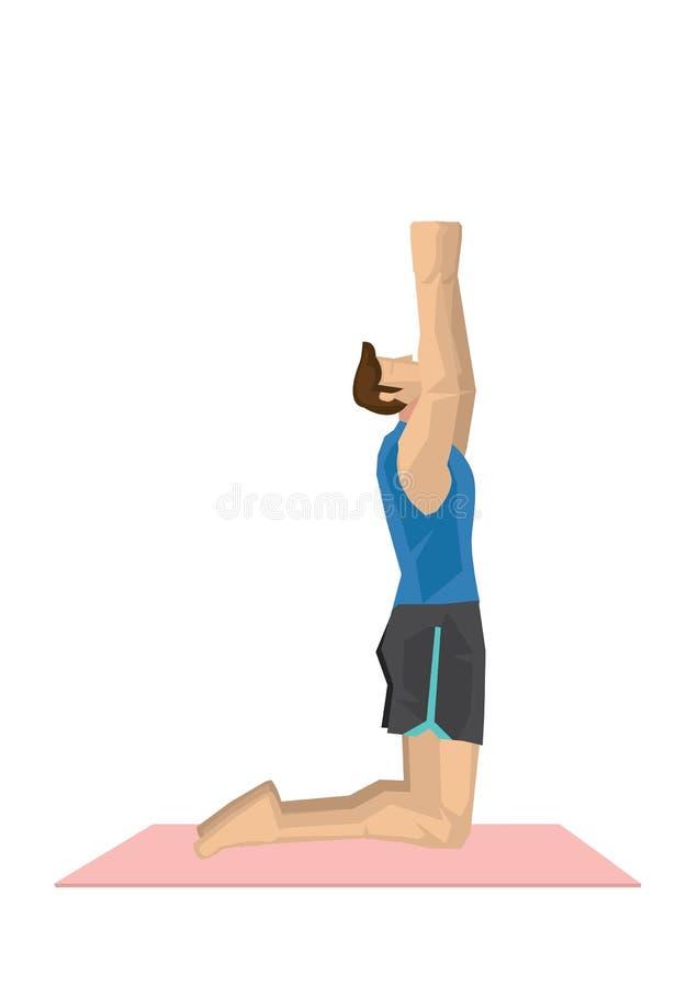 Иллюстрация йоги сильного человека практикуя с вставать назад a бесплатная иллюстрация