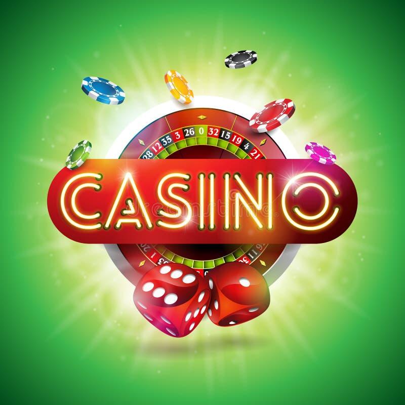Иллюстрация казино с сияющим письмом неонового света и колесо рулетки на зеленой предпосылке Дизайн вектора играя в азартные игры иллюстрация вектора