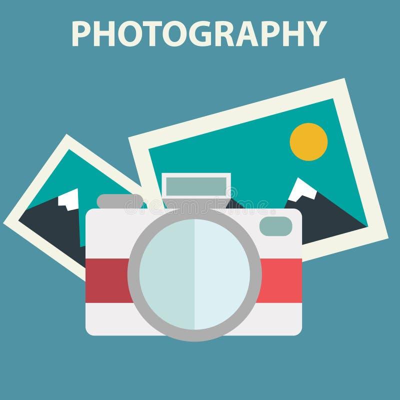 Иллюстрация камеры фото в плоском дизайне цвета иллюстрация вектора
