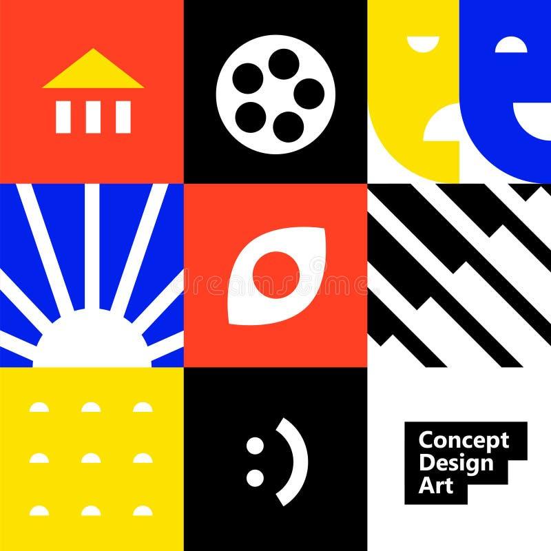 Иллюстрация картины значков r Типы концепции искусства: кино, музыка, театр, архитектура, etc План для дизайна иллюстрация вектора