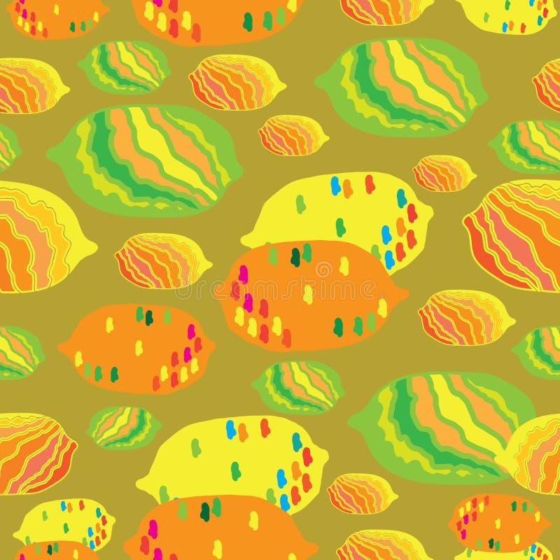 Иллюстрация картины повторения абстрактного наслаждения Лимон-плода безшовная Предпосылка в желтые оранжевое красное голубом и зе иллюстрация штока