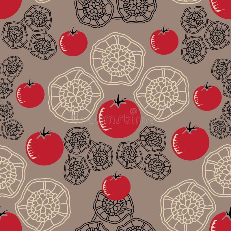 Иллюстрация картины повторения наслаждения оформления-Vegi томата безшовная Предпосылка в красном, зеленом и черном иллюстрация штока