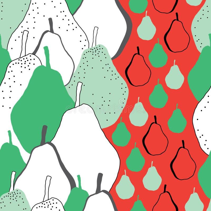 Иллюстрация картины повторения наслаждения Парти-плодоовощ груши безшовная Предпосылка в зеленое красное черно-белом бесплатная иллюстрация