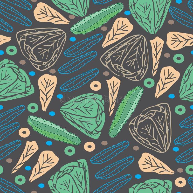 Иллюстрация картины повторения наслаждения салата и огурца-Vegi безшовная Предпосылка внутри, зеленые голубое и коричневый бесплатная иллюстрация