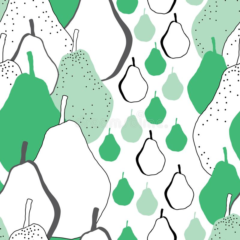 Иллюстрация картины повторения свежего наслаждения Груш-плодоовощ безшовная Предпосылка в Grren черно-белом иллюстрация штока