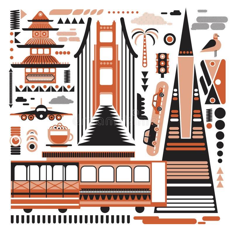 Иллюстрация картины Сан-Франциско простая на белой предпосылке бесплатная иллюстрация