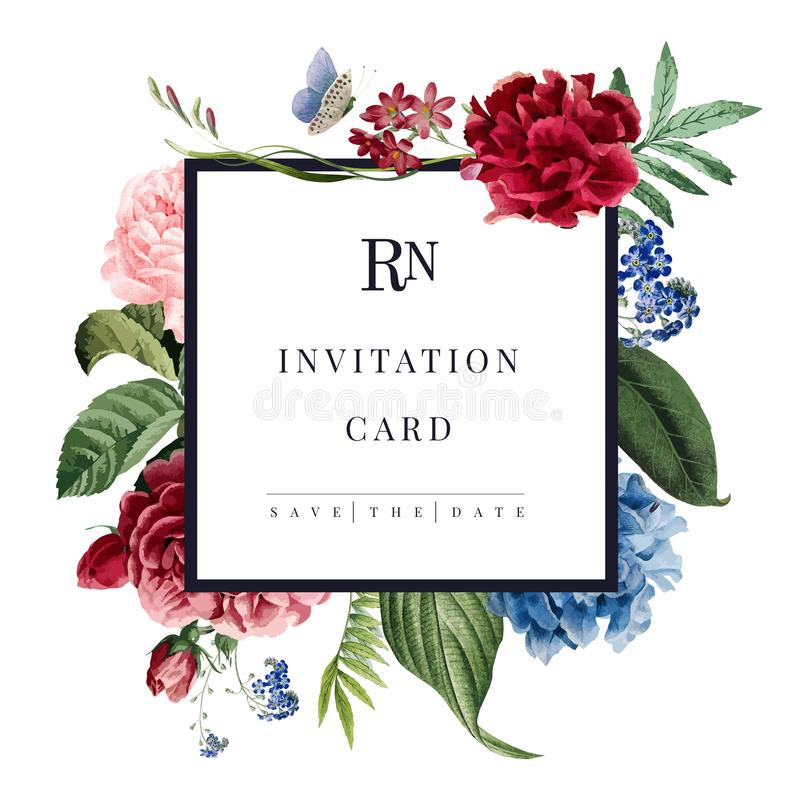 Иллюстрация карточки приглашения свадьбы флористическая на белой предпосылке иллюстрация вектора