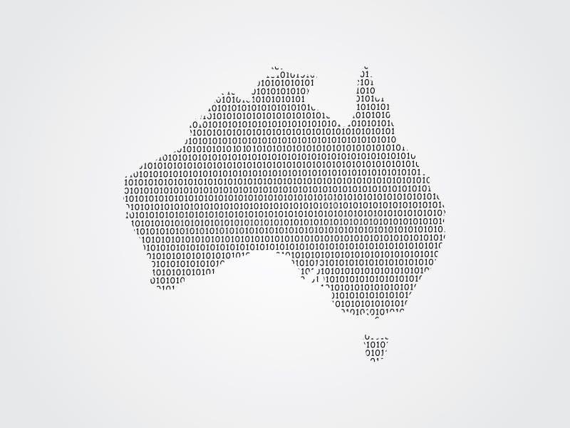 Иллюстрация карты вектора Австралии используя бинарные коды на белой предпосылке для того чтобы значить выдвижение цифровой техно бесплатная иллюстрация